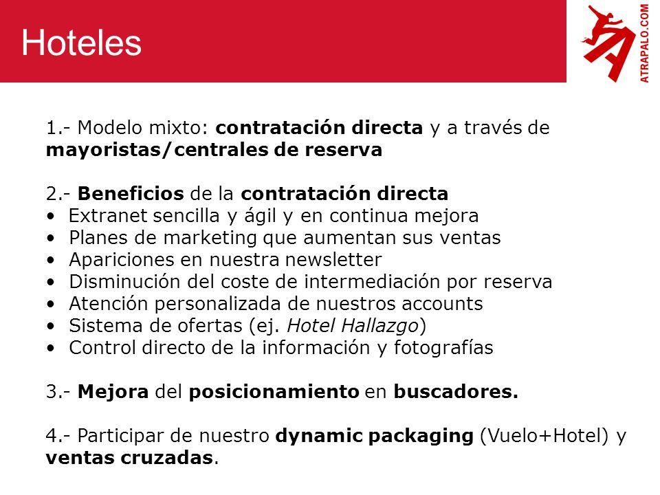 Hoteles 1.- Modelo mixto: contratación directa y a través de mayoristas/centrales de reserva. 2.- Beneficios de la contratación directa.