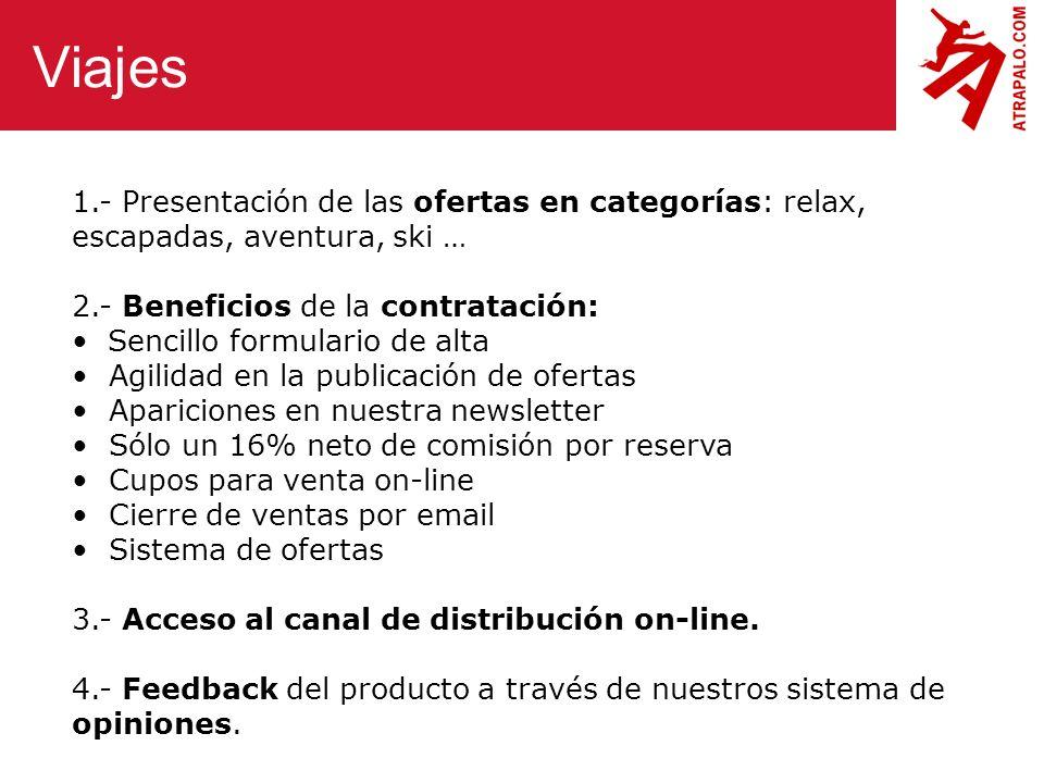 Viajes 1.- Presentación de las ofertas en categorías: relax, escapadas, aventura, ski … 2.- Beneficios de la contratación: