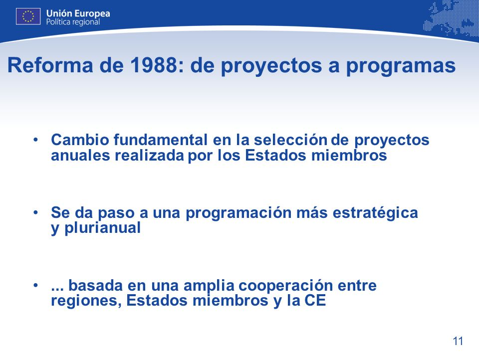 Reforma de 1988: de proyectos a programas