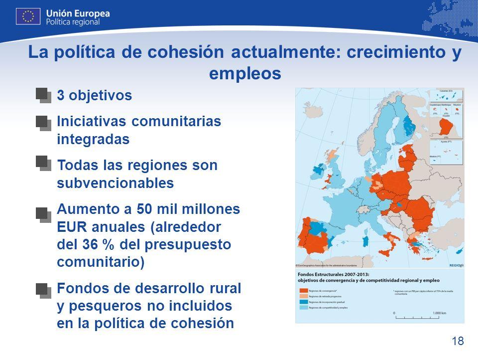 La política de cohesión actualmente: crecimiento y empleos