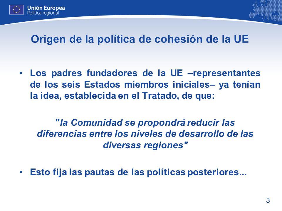 Origen de la política de cohesión de la UE