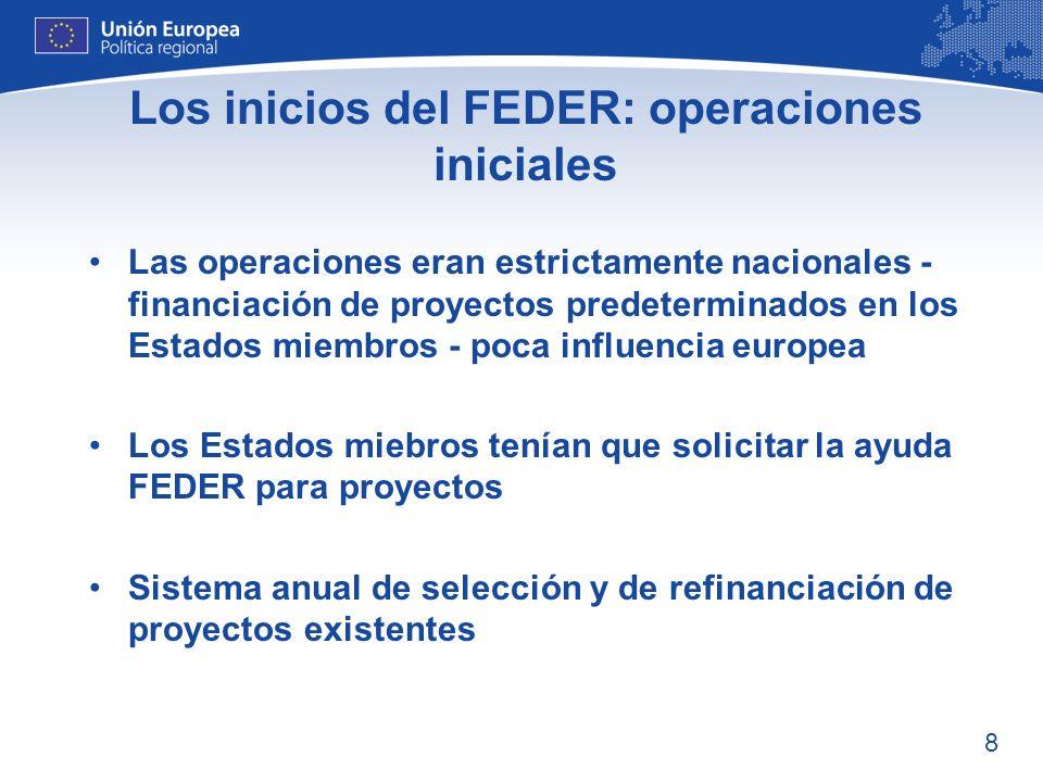 Los inicios del FEDER: operaciones iniciales