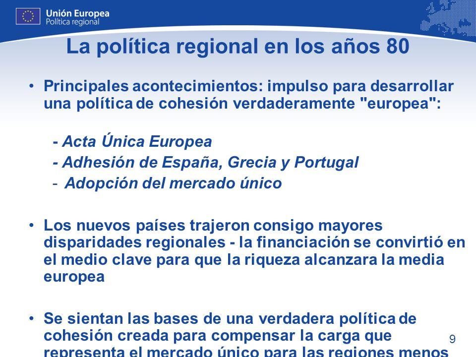La política regional en los años 80