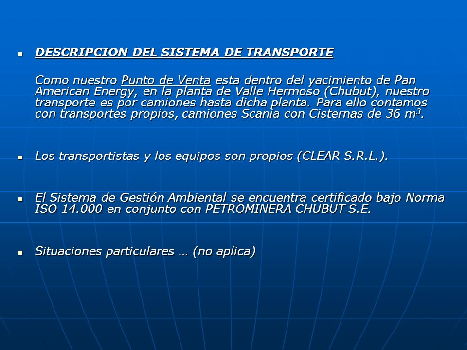 DESCRIPCION DEL SISTEMA DE TRANSPORTE