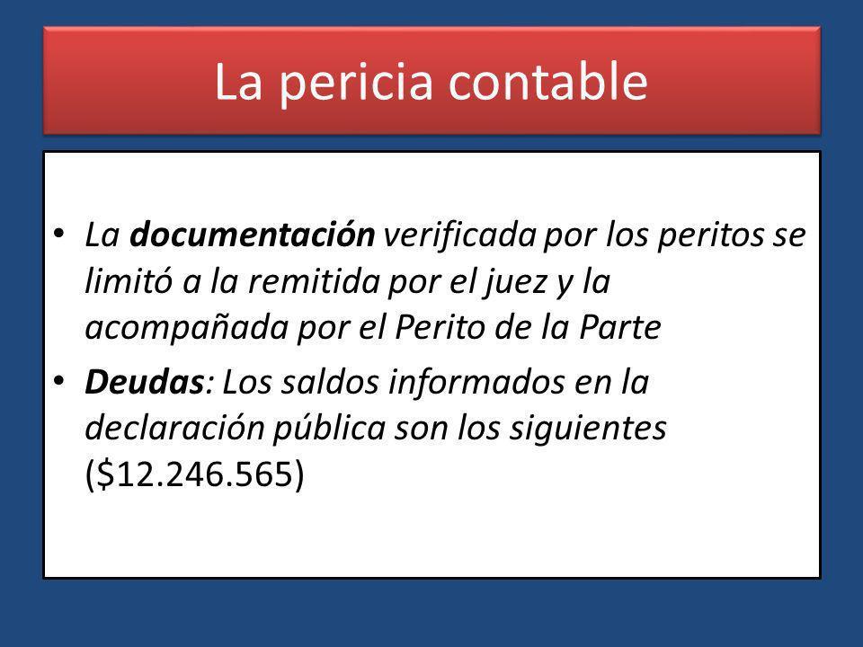 La pericia contable La documentación verificada por los peritos se limitó a la remitida por el juez y la acompañada por el Perito de la Parte.