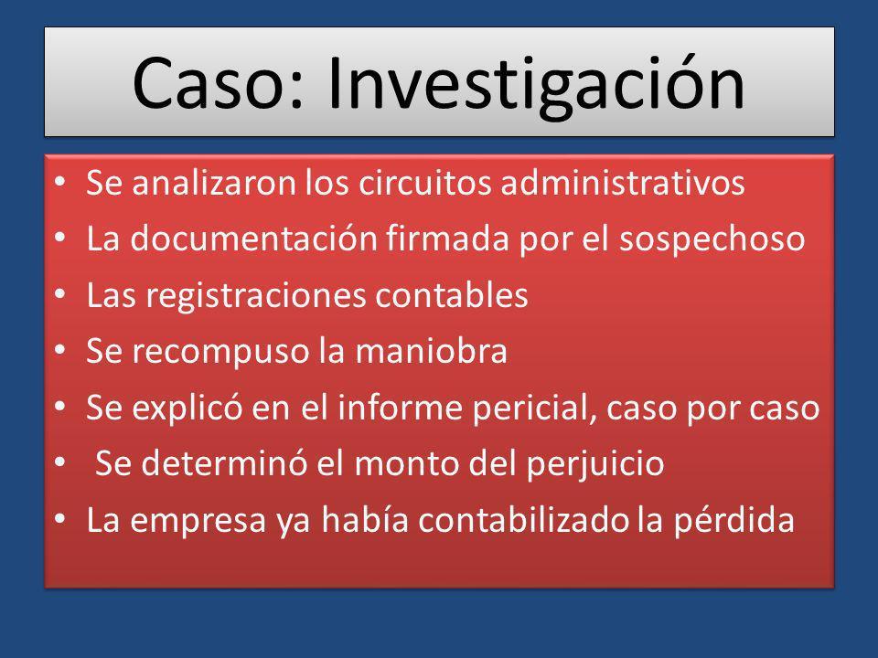 Caso: Investigación Se analizaron los circuitos administrativos