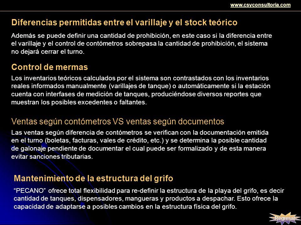 Diferencias permitidas entre el varillaje y el stock teórico