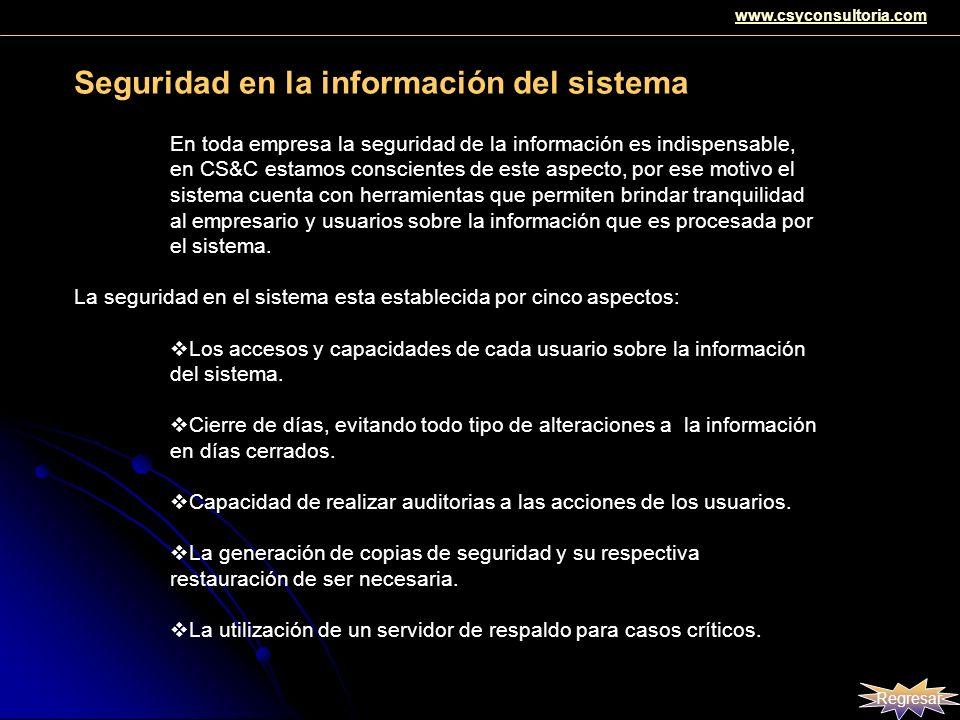 Seguridad en la información del sistema