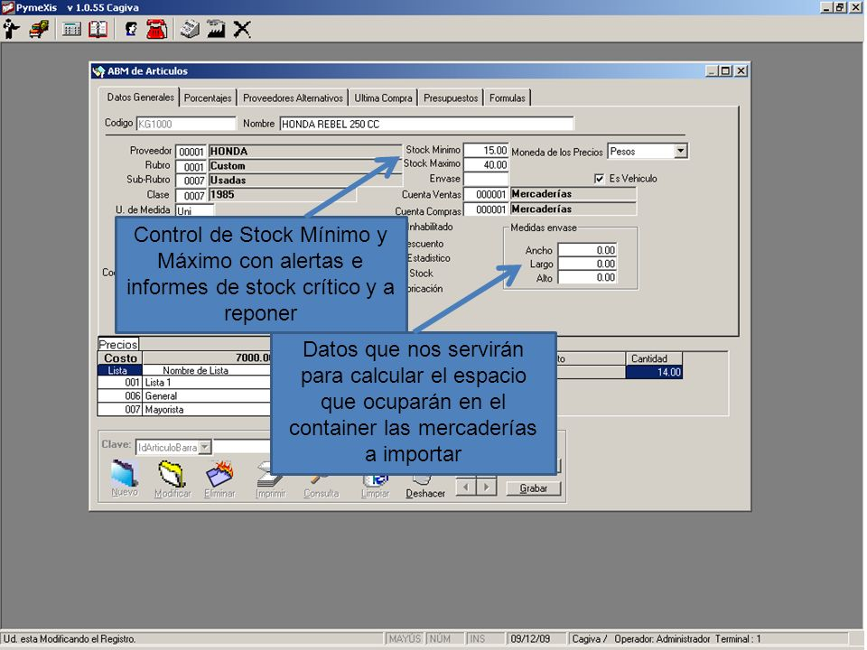 Control de Stock Mínimo y Máximo con alertas e informes de stock crítico y a reponer