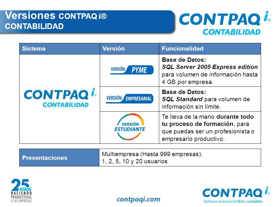 Versiones CONTPAQ i® CONTABILIDAD
