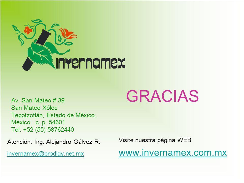 GRACIAS www.invernamex.com.mx Av. San Mateo # 39 San Mateo Xóloc