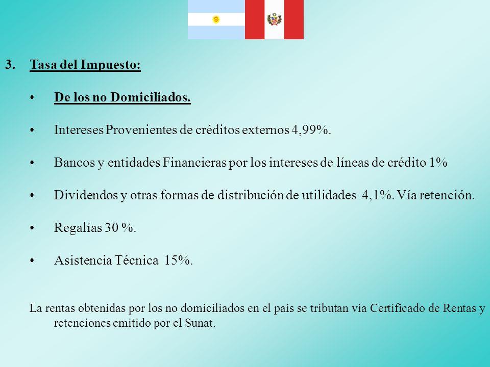 Intereses Provenientes de créditos externos 4,99%.