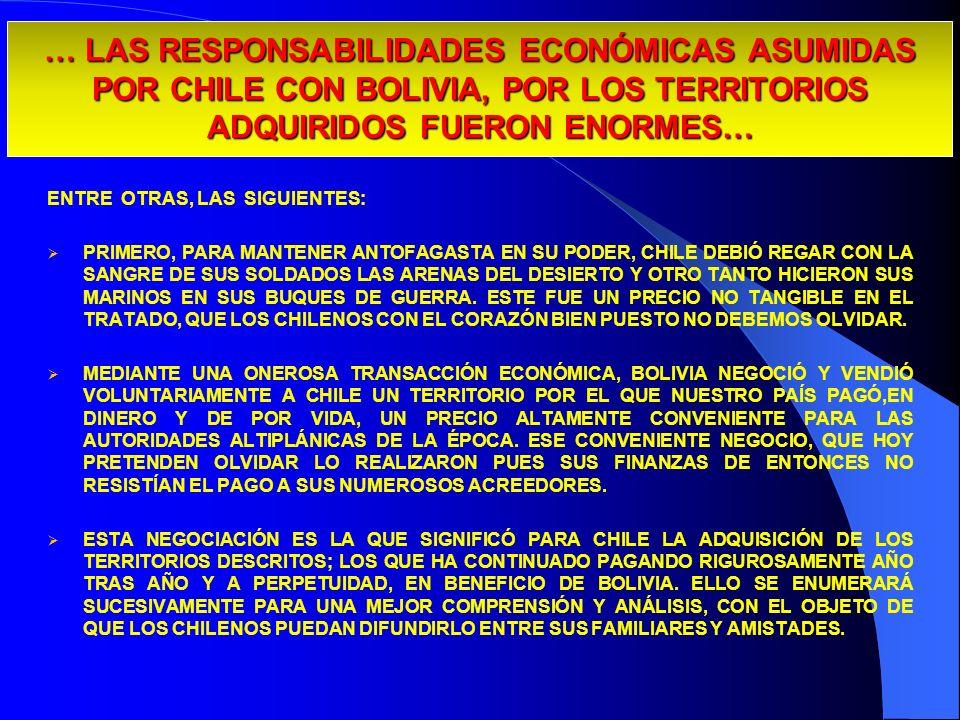 29/03/2017… LAS RESPONSABILIDADES ECONÓMICAS ASUMIDAS POR CHILE CON BOLIVIA, POR LOS TERRITORIOS ADQUIRIDOS FUERON ENORMES…