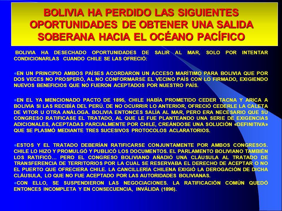 29/03/2017BOLIVIA HA PERDIDO LAS SIGUIENTES OPORTUNIDADES DE OBTENER UNA SALIDA SOBERANA HACIA EL OCÉANO PACÍFICO.