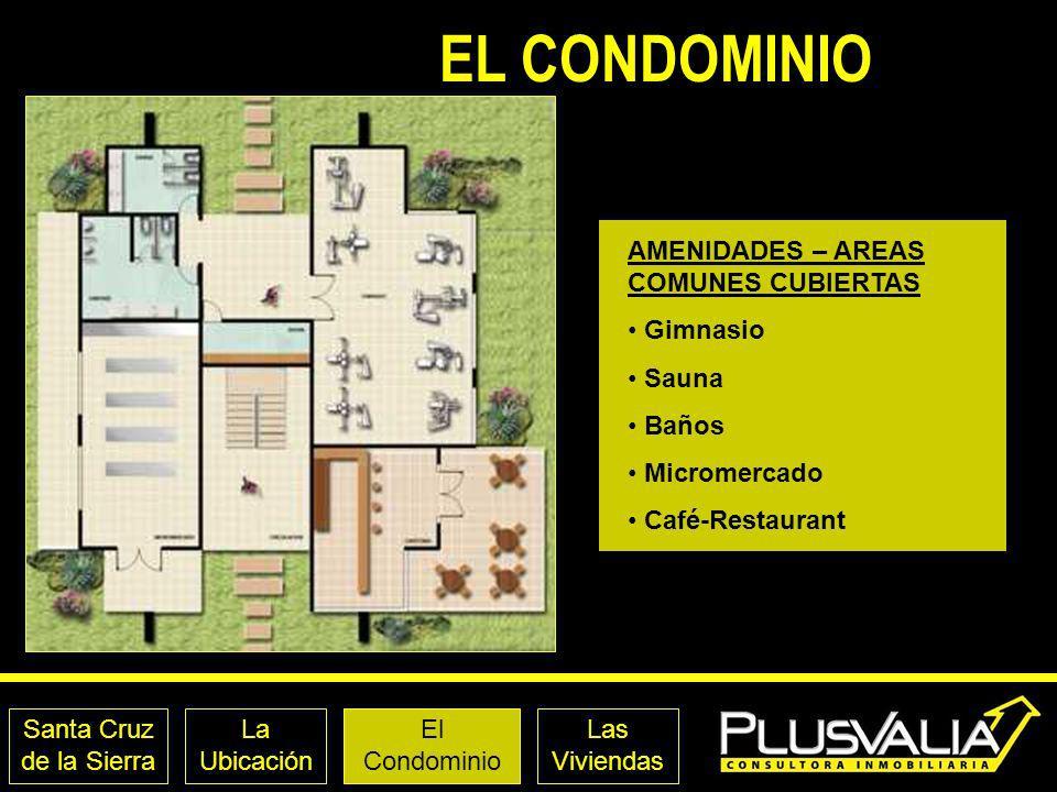 EL CONDOMINIO AMENIDADES – AREAS COMUNES CUBIERTAS Gimnasio Sauna