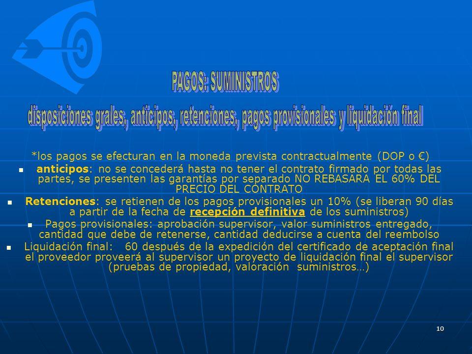 PAGOS: SUMINISTROS disposiciones grales, anticipos, retenciones, pagos provisionales y liquidación final.