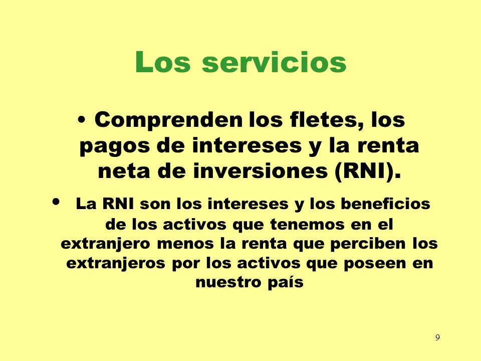 Los serviciosComprenden los fletes, los pagos de intereses y la renta neta de inversiones (RNI).