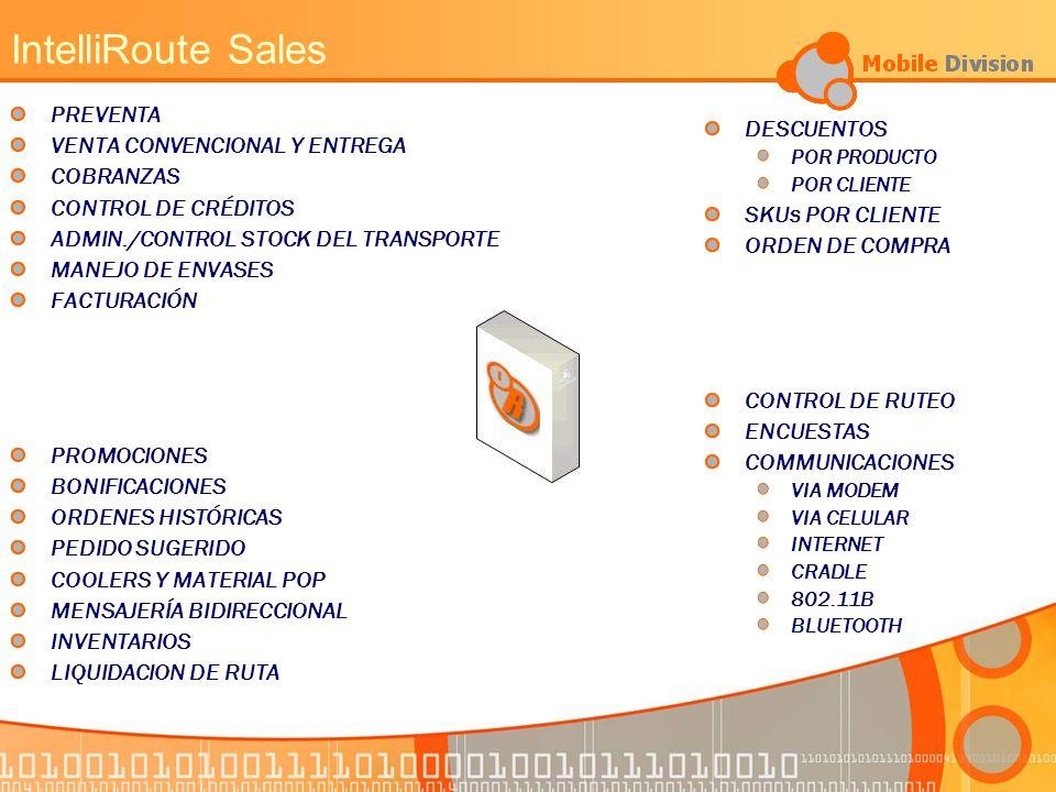 IntelliRoute Sales PREVENTA VENTA CONVENCIONAL Y ENTREGA DESCUENTOS