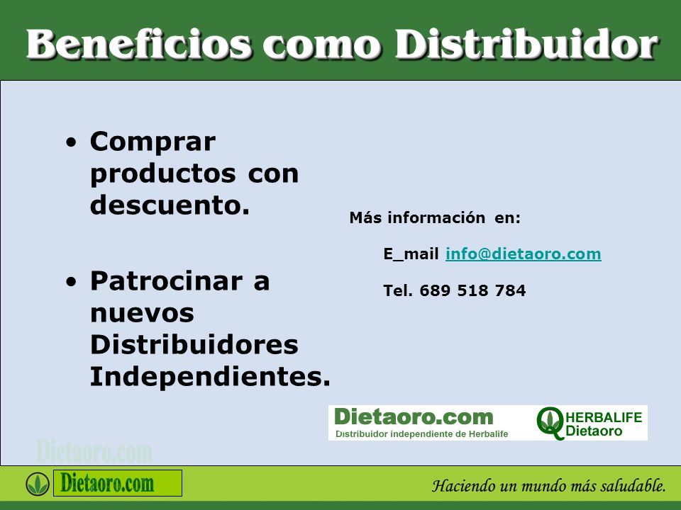 Beneficios como Distribuidor