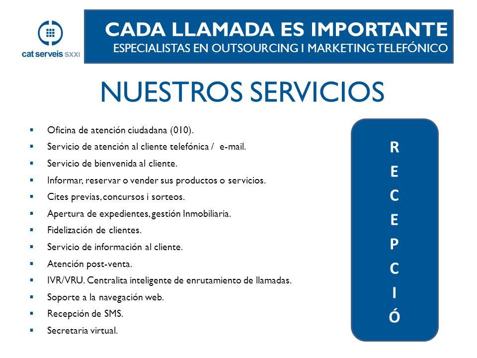 NUESTROS SERVICIOS CADA LLAMADA ES IMPORTANTE RECEPCIÓ