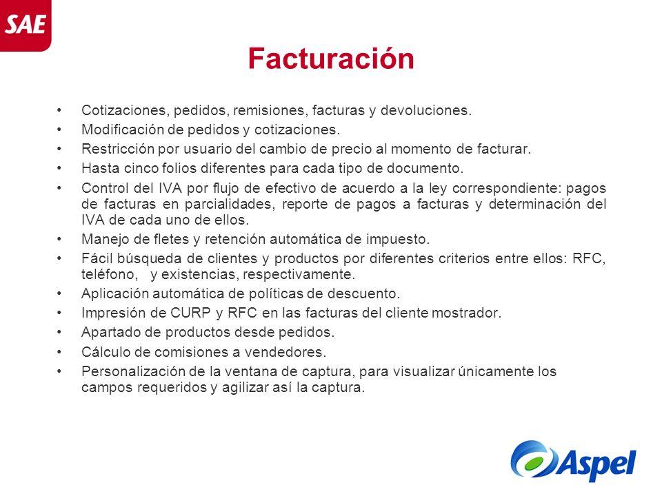 Facturación Cotizaciones, pedidos, remisiones, facturas y devoluciones. Modificación de pedidos y cotizaciones.