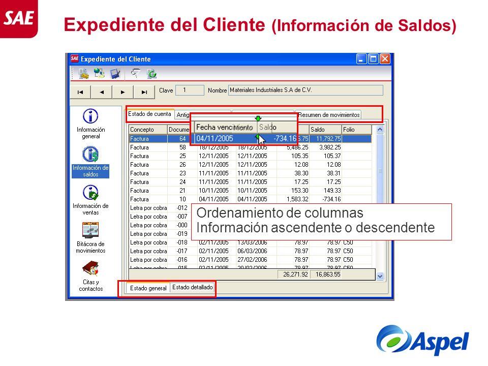 Expediente del Cliente (Información de Saldos)