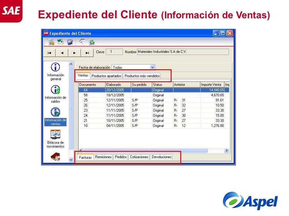 Expediente del Cliente (Información de Ventas)