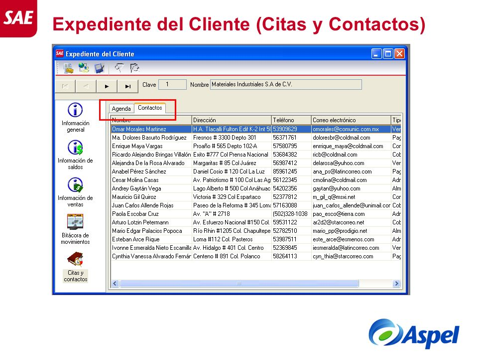 Expediente del Cliente (Citas y Contactos)