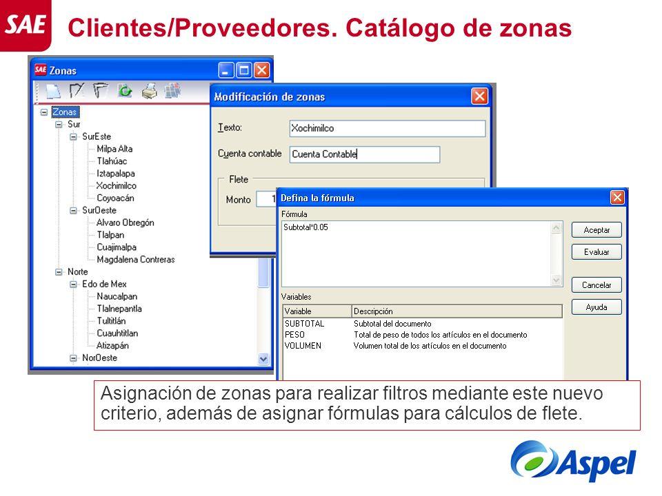 Clientes/Proveedores. Catálogo de zonas