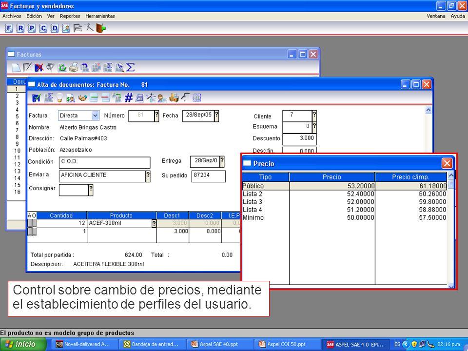 Control sobre cambio de precios, mediante el establecimiento de perfiles del usuario.