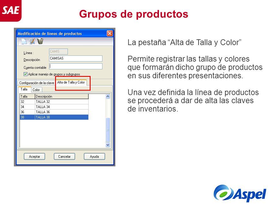 Grupos de productos La pestaña Alta de Talla y Color