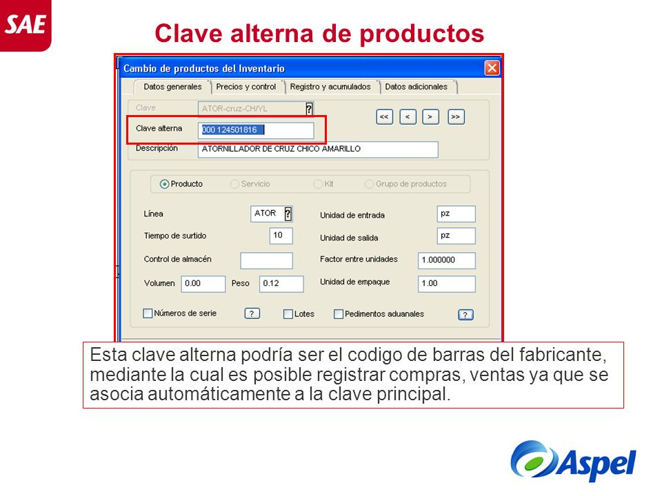 Clave alterna de productos
