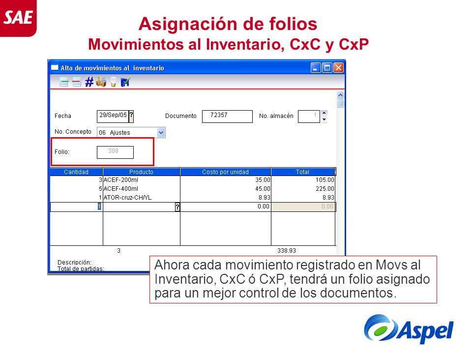 Movimientos al Inventario, CxC y CxP