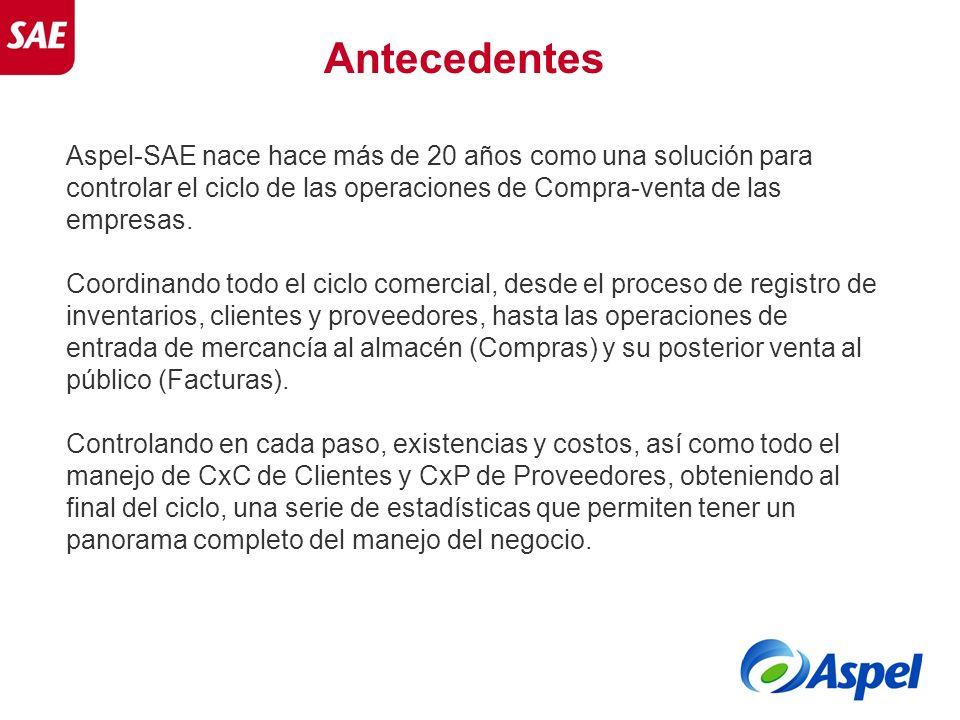 Antecedentes Aspel-SAE nace hace más de 20 años como una solución para controlar el ciclo de las operaciones de Compra-venta de las empresas.