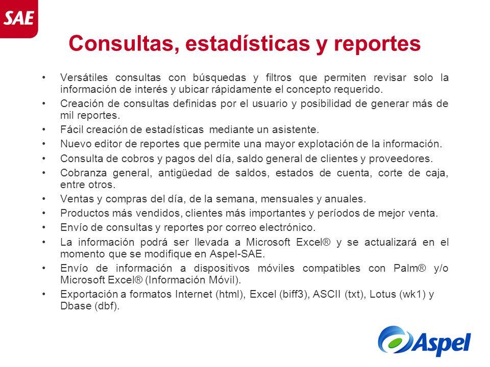 Consultas, estadísticas y reportes