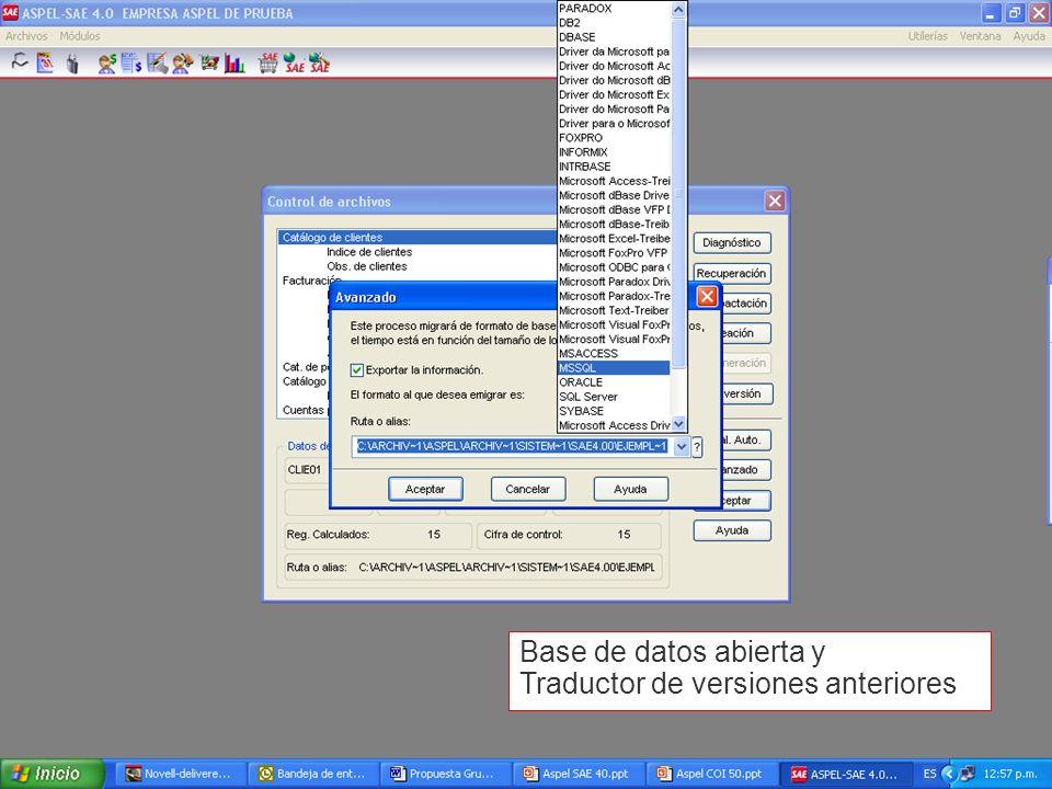 Base de datos abierta y Traductor de versiones anteriores