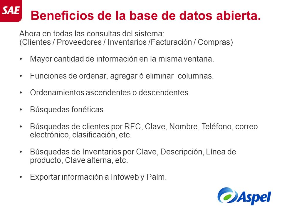 Beneficios de la base de datos abierta.
