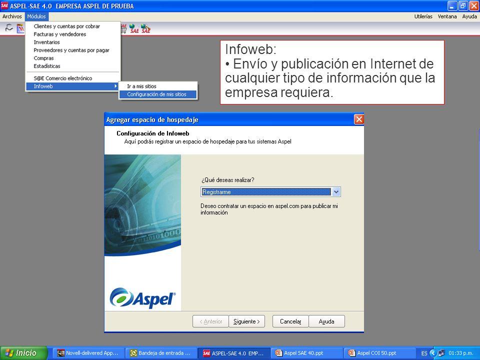 Infoweb: Envío y publicación en Internet de cualquier tipo de información que la empresa requiera.