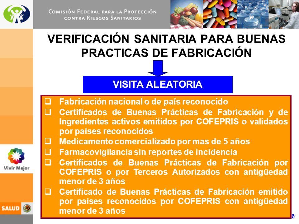 VERIFICACIÓN SANITARIA PARA BUENAS PRACTICAS DE FABRICACIÓN