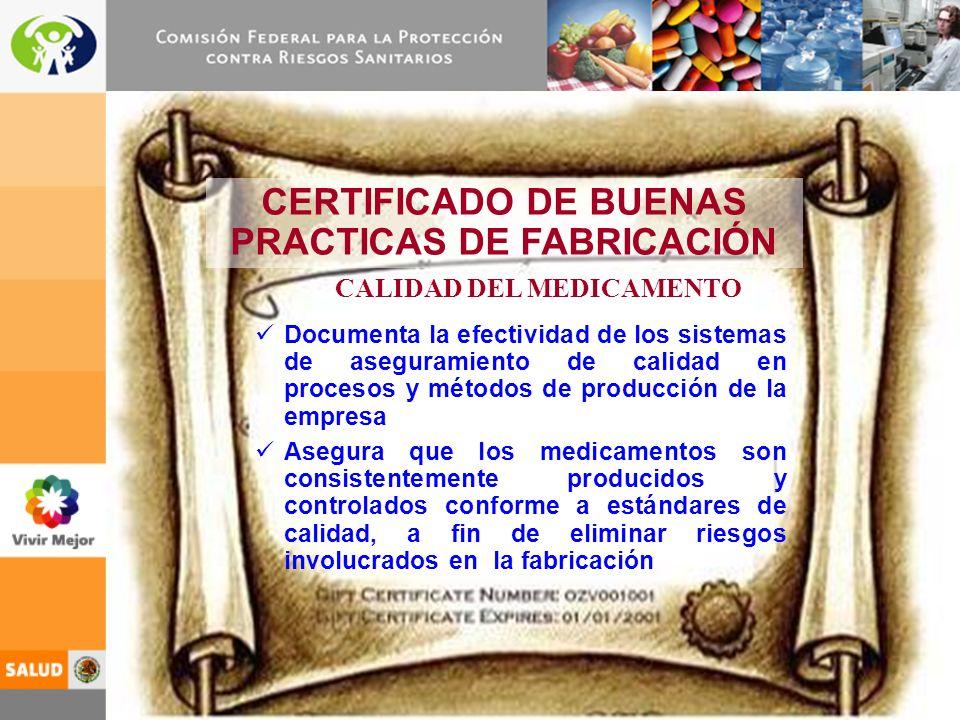 CERTIFICADO DE BUENAS PRACTICAS DE FABRICACIÓN CALIDAD DEL MEDICAMENTO