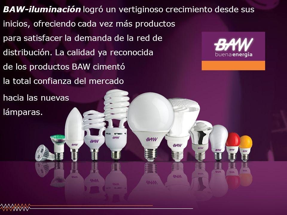 BAW-iluminación logró un vertiginoso crecimiento desde sus inicios, ofreciendo cada vez más productos para satisfacer la demanda de la red de distribución. La calidad ya reconocida de los productos BAW cimentó la total confianza del mercado
