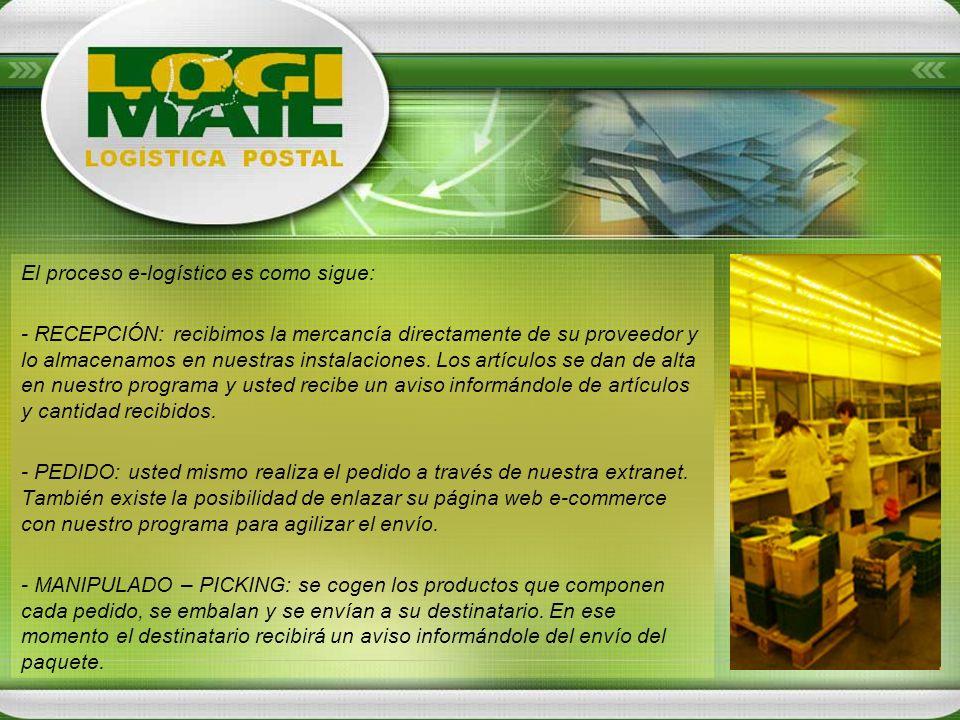 El proceso e-logístico es como sigue: