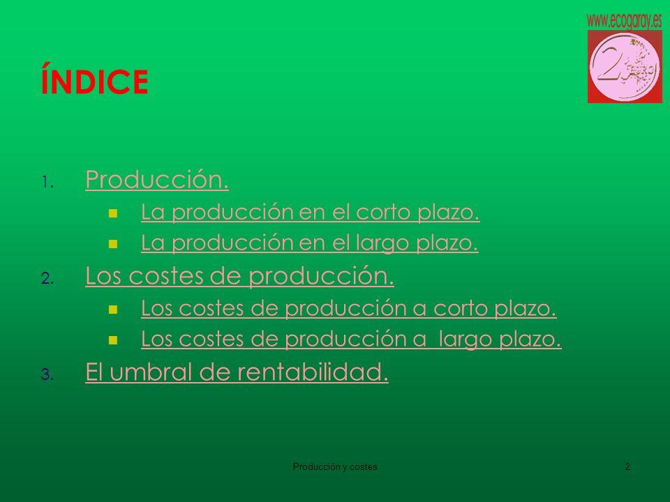 ÍNDICE Producción. Los costes de producción.