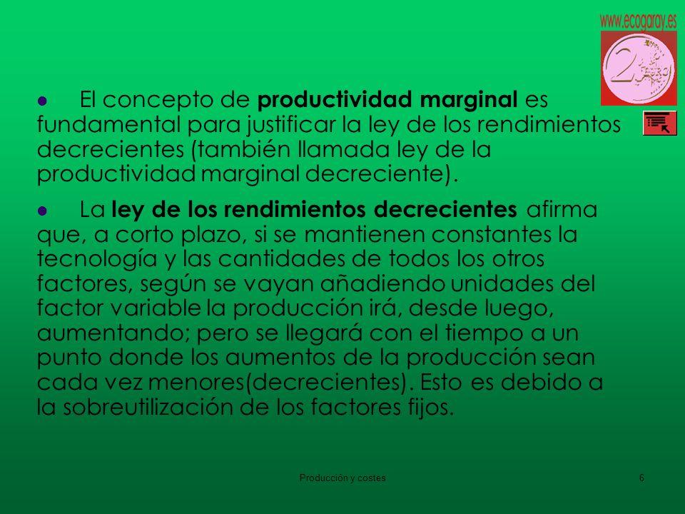 El concepto de productividad marginal es fundamental para justificar la ley de los rendimientos decrecientes (también llamada ley de la productividad marginal decreciente).