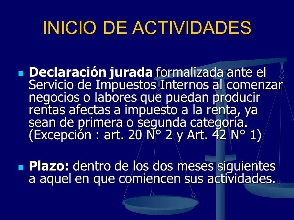 INICIO DE ACTIVIDADES