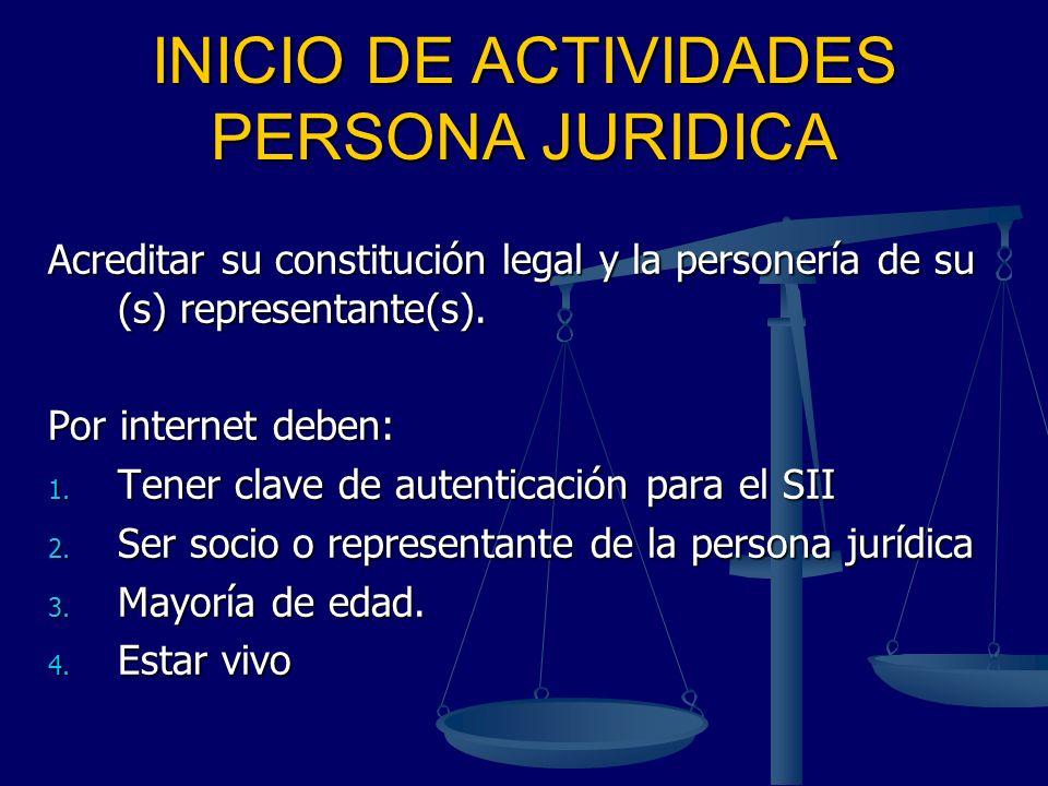 INICIO DE ACTIVIDADES PERSONA JURIDICA