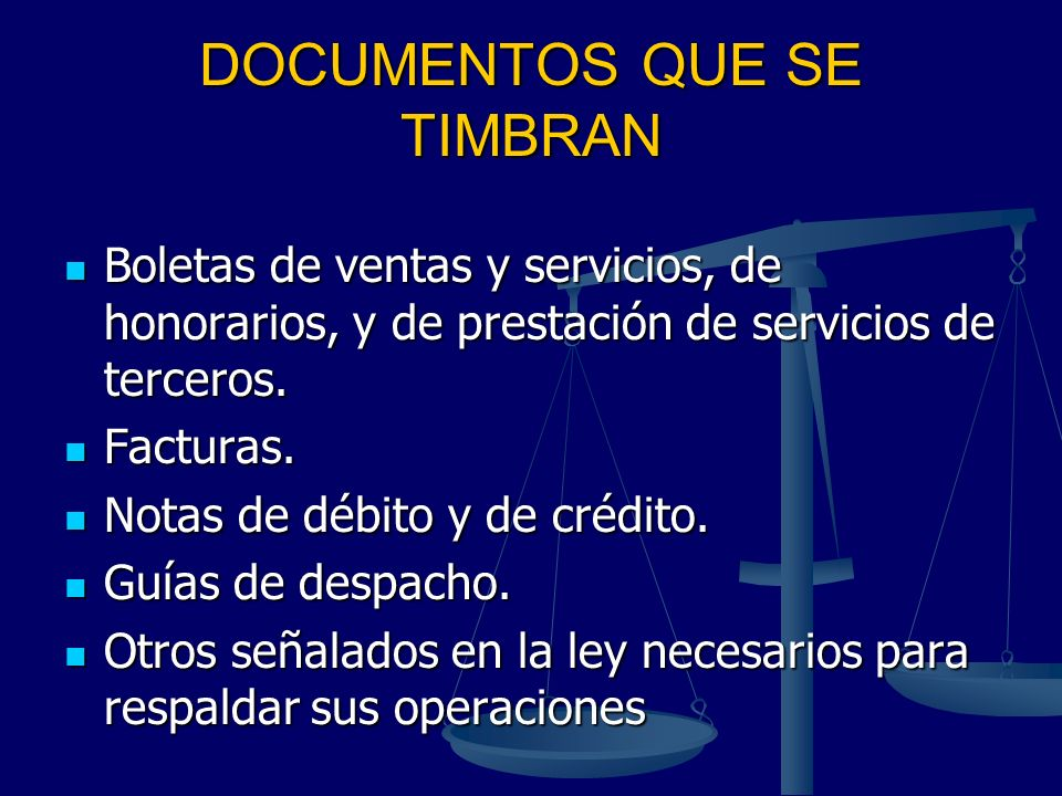 DOCUMENTOS QUE SE TIMBRAN