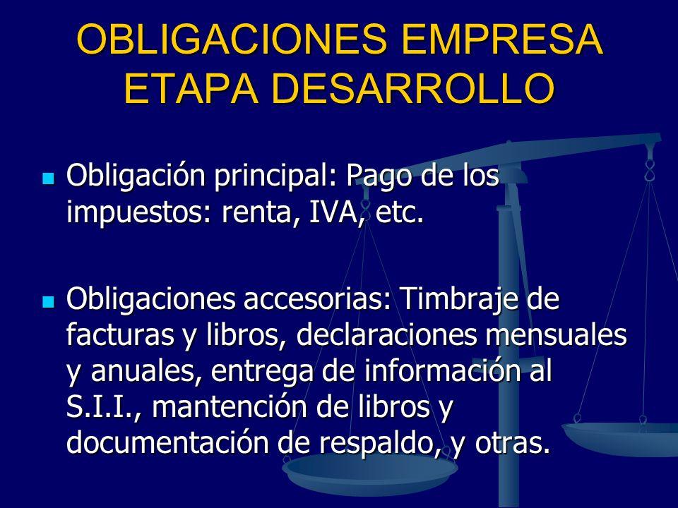 OBLIGACIONES EMPRESA ETAPA DESARROLLO