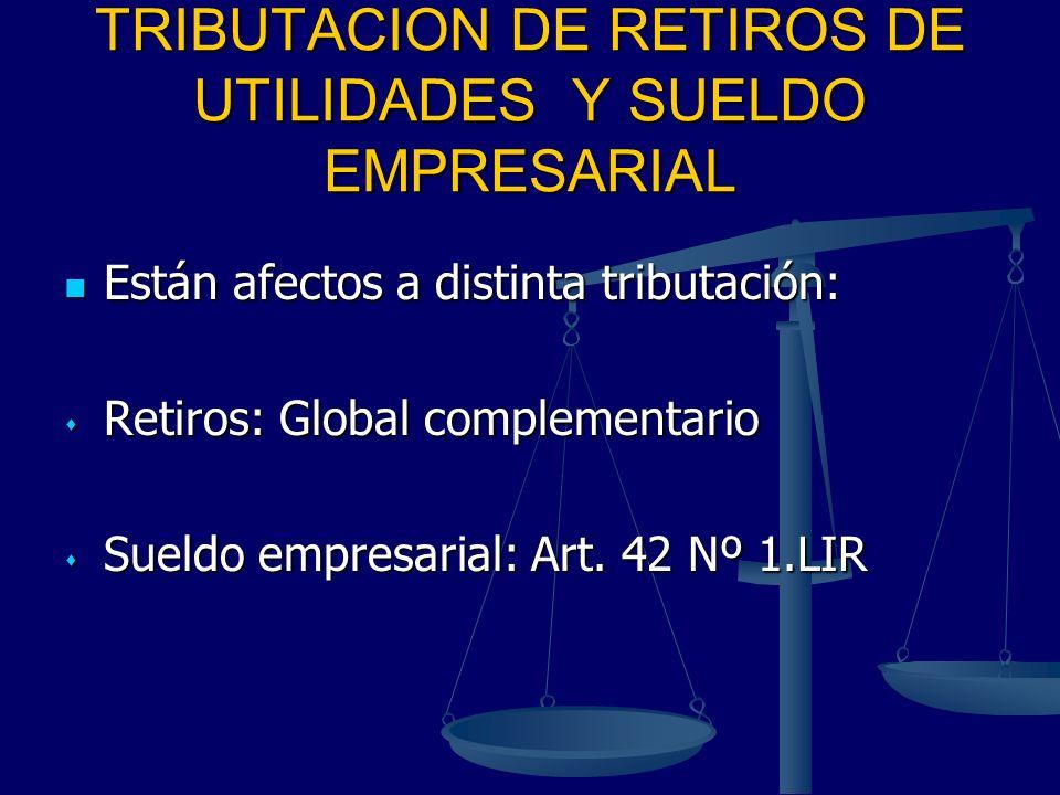 TRIBUTACION DE RETIROS DE UTILIDADES Y SUELDO EMPRESARIAL