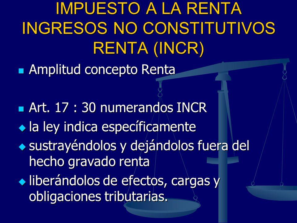 IMPUESTO A LA RENTA INGRESOS NO CONSTITUTIVOS RENTA (INCR)